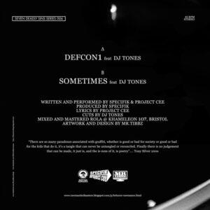 "SPECIFIK/PROJECT CEE feat. DJ TONES ""defcon 1/ sometimes"" 7inch clear wax"